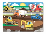 Melissa & Doug Construction Site Peg Puzzle 6 Pieces