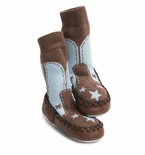 Mocc-Ons Moccasin Style Slipper Socks Cowboy Blue