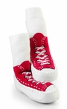 Mocc-Ons Moccasin Style Slipper Socks Red Sneaker Print