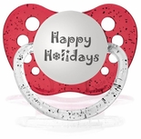 Happy Holidays Orthodontic Silicone Expression Pacifiers  Glitter Red