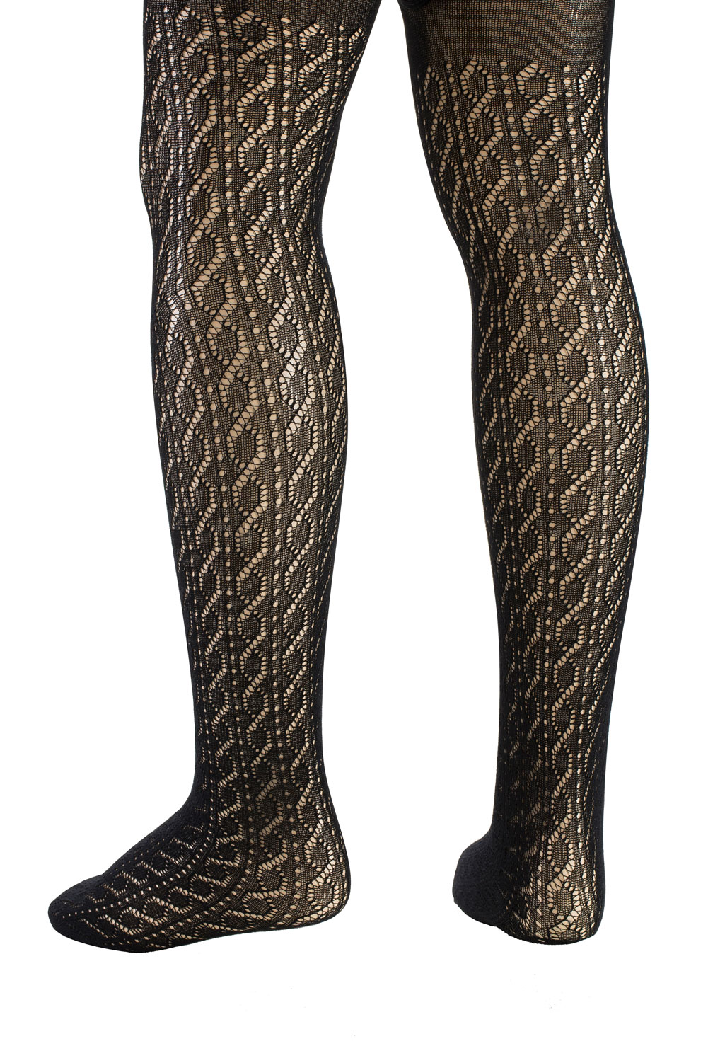 b0be3681522 KneesNToes.net - Serlei Kids Crochet Cabled Designed Tights Black ...