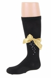 JRP Girls Cascade Bow Knee Sock Black With Colored Bow