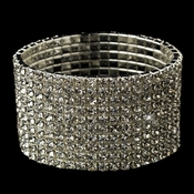10 Row Silver Clear Rhinestone Stretch Bracelet 7416