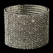 15 Row Silver Clear Rhinestone Stretch Bracelet 7417