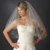 "2 Layer Fingertip Length, Beaded & Embroidered Edge Veil 2943 (30"" x 36"" long)"