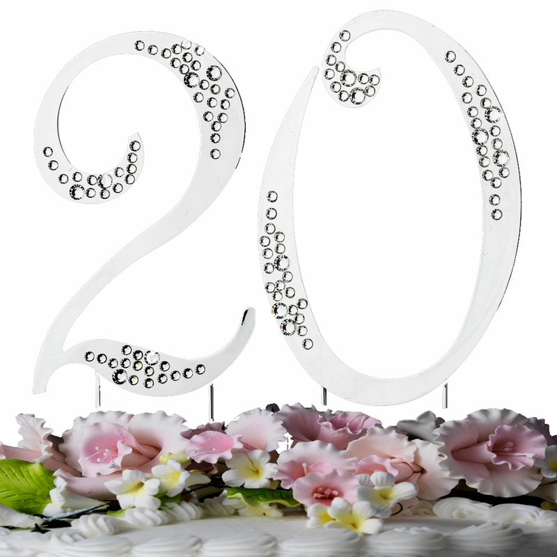 20th Crystal Anniversary Or Birthday Cake Tops Wholesale Cake Jewelry