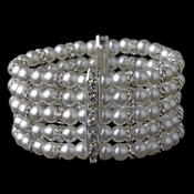 5 Row Silver White Pearl Stretch Bracelet 980***Discontinued***