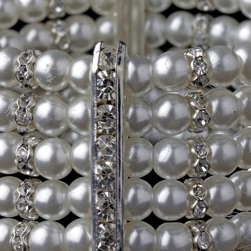 5 Row Silver White Pearl Stretch Bracelet 980