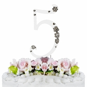 5th Birthday or Anniversary Wedding Crystal Cake Topper
