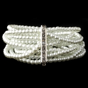 8 Row Silver White Pearl Stretch Bracelet 9618