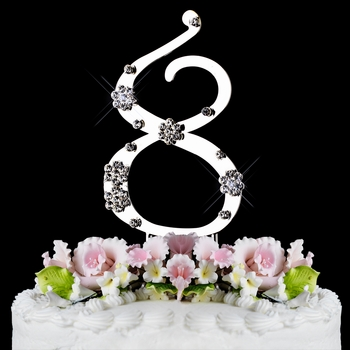8 th Birthday or Anniversary Crystal Cake Topper