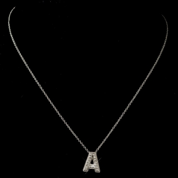 """""""A"""" Clear Rhinestone Letter Initial Pendant Necklace 1"""