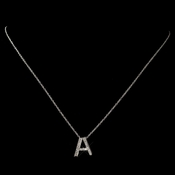 """A"" Sterling Silver CZ Crystal Initial Necklace 4407"