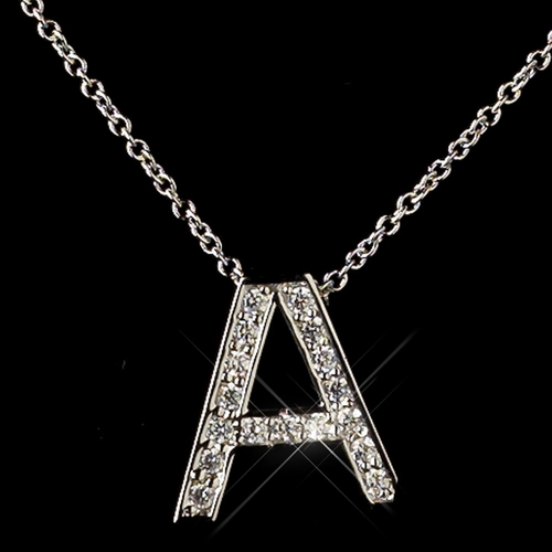 """""""A"""" Sterling Silver CZ Crystal Initial Necklace 4407"""