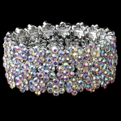 AB Rhodium Flower Rhinestone Stretch Bracelet 9886