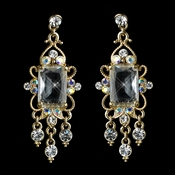 Antique Gold Clear CZ Crystal & Rhinestone Dangle Earrings 936