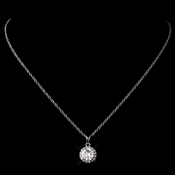 Antique Rhodium Clear CZ Crystal Pave Pendant Necklace 9398