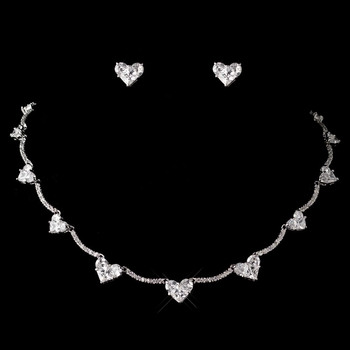 Antique Rhodium CZ Crystal Heart Curved  Jewelry Set 1580