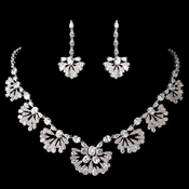 Antique Rhodium Great Gatsby Style  Jewelry Set 1588