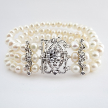 Antique Rhodium Silver 3 Row Ivory Pearl CZ Bracelet 7418