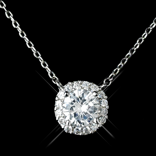 Antique Rhodium Silver 9mm CZ Crystal Pave Pendent Necklace 1651