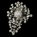 Antique Rhodium Silver Clear Brooch 233