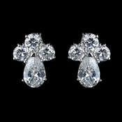 Antique Rhodium Silver Clear Cluster  Petite CZ Crystal Stud Children�s Earrings 7774
