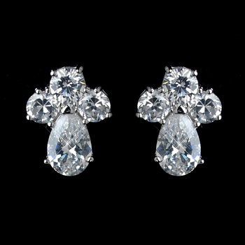 Antique Rhodium Silver Clear Cluster  Petite CZ Crystal Stud Children's Earrings 7774