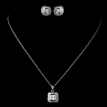 Antique Rhodium Silver Clear Cushnet CZ Crystal Drop Pendent Necklace 7731 & Cushnet Stud Earrings 7410 Jewelry Set