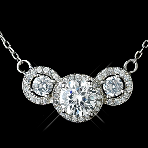 Antique Rhodium Silver Clear CZ Crystal 3 Stone Pave Round Pendent Necklace 7735 & Petite Eternity Earrings 7407 Jewelry Set