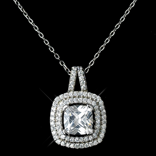 Antique Rhodium Silver Clear CZ Crystal Cut Drop Encrusted In Pave Stone Necklace 7721