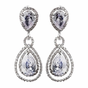 Antique Rhodium Silver Clear CZ Crystal Drop Bridal Earrings 8931