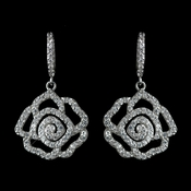 Antique Rhodium Silver Clear CZ Crystal Encrusted Pave Rose Dangle Earrings 7765