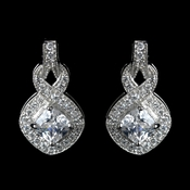 Antique Rhodium Silver Clear CZ Crystal Eternity Infinity Earrings 7799***Discontinued***