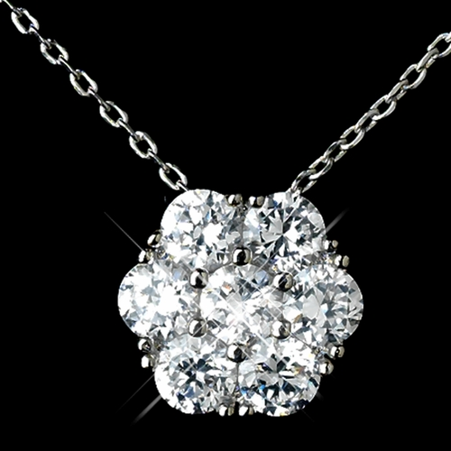 Antique Rhodium Silver Clear CZ Crystal Flower Encrusted Cluster Pendent Necklace 7742