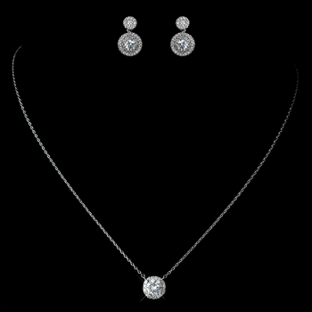 CZ Crystal Pave Crystal Pendent Necklace 1651 & Petite Pave Solataire Double Drop Earrings 7406 Jewelry Set (Rhodium or Gold)