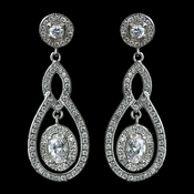 Antique Rhodium Silver Clear CZ Crystal Pave Encrusted Vintage Earrings 7778