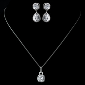 Antique Rhodium Silver Clear CZ Crystal Pendent Necklace 8114 & Cushnet Teardrop Pave Encrusted Drop Earrings 2900 Jewelry Set