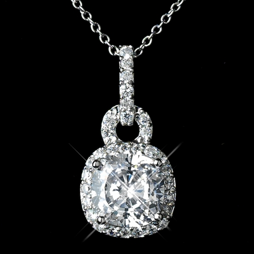 Antique Rhodium Silver Clear CZ Crystal Pendent Necklace 8114 ***Earrings Are Discontinued***