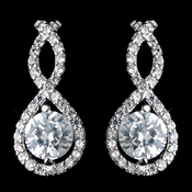 Antique Rhodium Silver Clear CZ Crystal Petite Eternity Infinity Earrings 7407