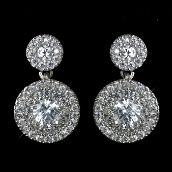 Antique Rhodium Silver Clear CZ Crystal Petite Pave Solitaire Double Drop Earrings 7406