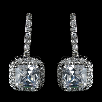 Antique Rhodium Silver Clear CZ Crystal Princess Cut Encrusted Earrings 7784