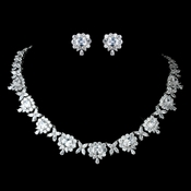 Antique Rhodium Silver Clear CZ Crystal Princess Cut, Teardrop Necklace & Earrings Jewelry Set 7745