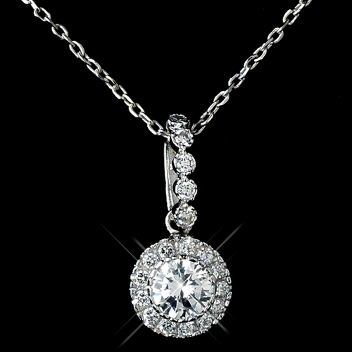 Antique Rhodium Silver Clear CZ Crystal Round Pave Encrusted Pendent Necklace 7741