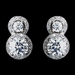 Antique Rhodium SIlver Clear CZ Crystal Round Pave Encrusted Pendent Necklace 7741 & Double Solataire Encrusted Stud Earrings 7735 Jewelry Set