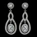 Antique Rhodium SIlver Clear CZ Crystal Round Pave Encrusted Pendent Necklace 7741 & Pave Encrusted Oval Drop Earrings 7778 Jewelry Set