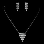 Antique Rhodium Silver Clear CZ Crystal Simple Pave Necklace & Earrings Jewelry Set 7752
