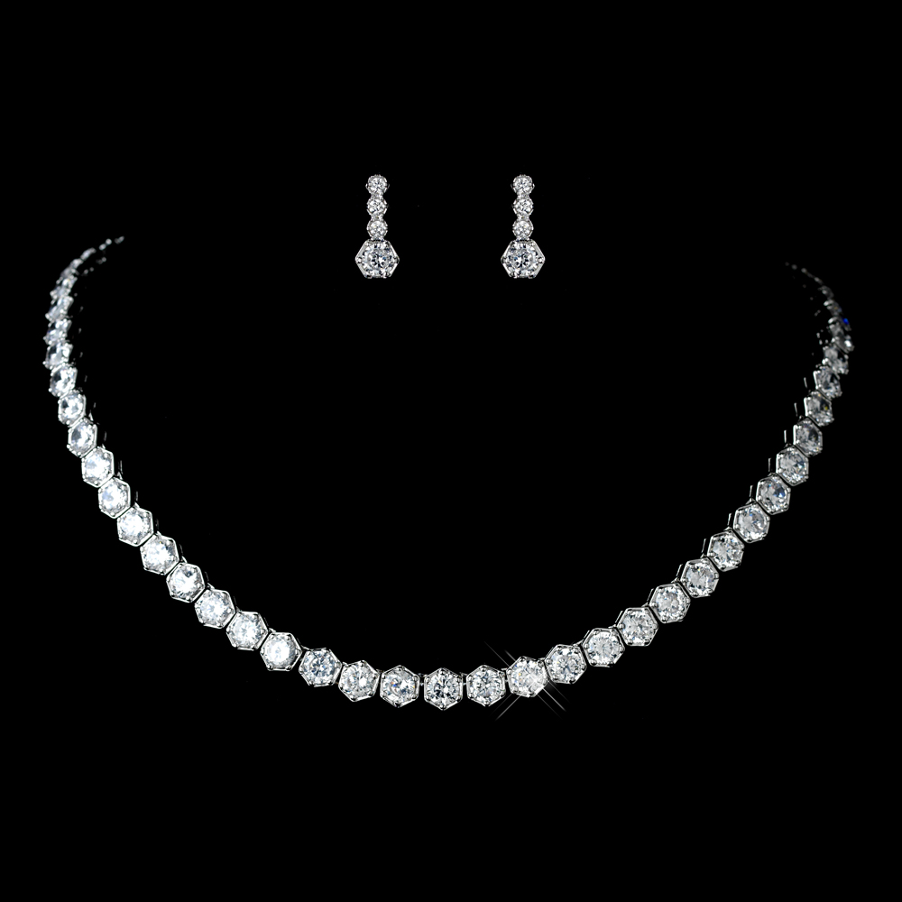 Antique Rhodium Silver Clear Cz Crystal Solitaire Necklace Earrings Jewelry Set 7748