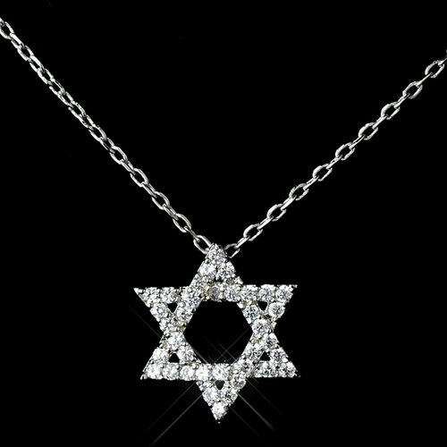 Antique Rhodium Silver Clear CZ Crystal Star Of David Pendent Drop Necklace 7733