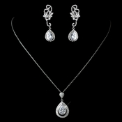 Antique Rhodium Silver Clear CZ Crystal Teardrop Pendent Necklace 7725 & Swirl Flower Teardrop Pave Dangle Earrings 2899 Jewelry Set